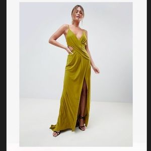 Beautiful olive green drape maxi dress from ASOS